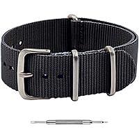 Benchmark Basics NATO Watch Band – Ballistic Nylon Strap + Spring Bar Tool - 18mm, 20mm, 22mm & 24mm - Multiple Colors