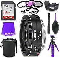 Canon EF 40mm f / 2.8STMレンズfor Canon DSLRカメラ& SanDisk 64GBクラス10メモリカード+ Completeアクセサリキット(11アイテム)
