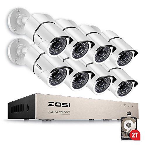 ZOSI 230万画素防犯カメラセット フルハイビジョン 2...