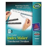 Index Maker Unpunchedクリアラベルディバイダー、8-tab、手紙、5セット/パック