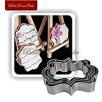 4本のフレームステンレス鋼のクッキーカッターセットビスケットスタンプペストリーフォンダンケーキ金型ベーキング装飾カッターツール