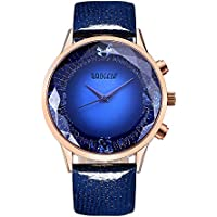 BAOGELA Womens Blue Dial Big Face Fashion Luxury Dress Quartz Wrist Watch with Blue Leather Strap