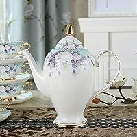 Ndht Bone Chinaティーカップ/コーヒーカップ& Saucersセットwith spoons-6.7oz、ホーム、レストラン、表示&休日のギフトまたは、ホワイトとパープルの Coffee Pot,1000 ml NDHT180623105