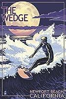 ニューポートビーチ、カリフォルニア–サーフィンをウェッジ 12 x 18 Signed Art Print LANT-45001-708