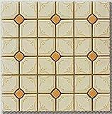 花柄 タイル モザイクタイル シート販売です(オレンジ)(艶あり・磁器質) 床 壁(キッチン カウンター・浴室・洗面所・洗面台・浴槽・トイレ・玄関) の DIYリフォームにOK。大正・昭和レトロな、アンティーク・デザインタイル インテリア 建材です