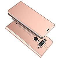 HTC U12 Plus Case, Scheam 聞く スキン Bumper Flip Cover-Rose Gold