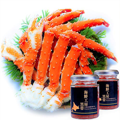 【Amazon.co.jp限定】 黒帯 海鮮セット たらばがに 特大 2肩 / いくら醤油漬け 100gx2瓶 北海道 ギフト