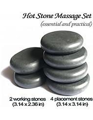 ロック玄武岩マッサージホットスト足つぼ?手のひら かっさ Natural Lava Rock Basalt Stone for (L 6 PCS)