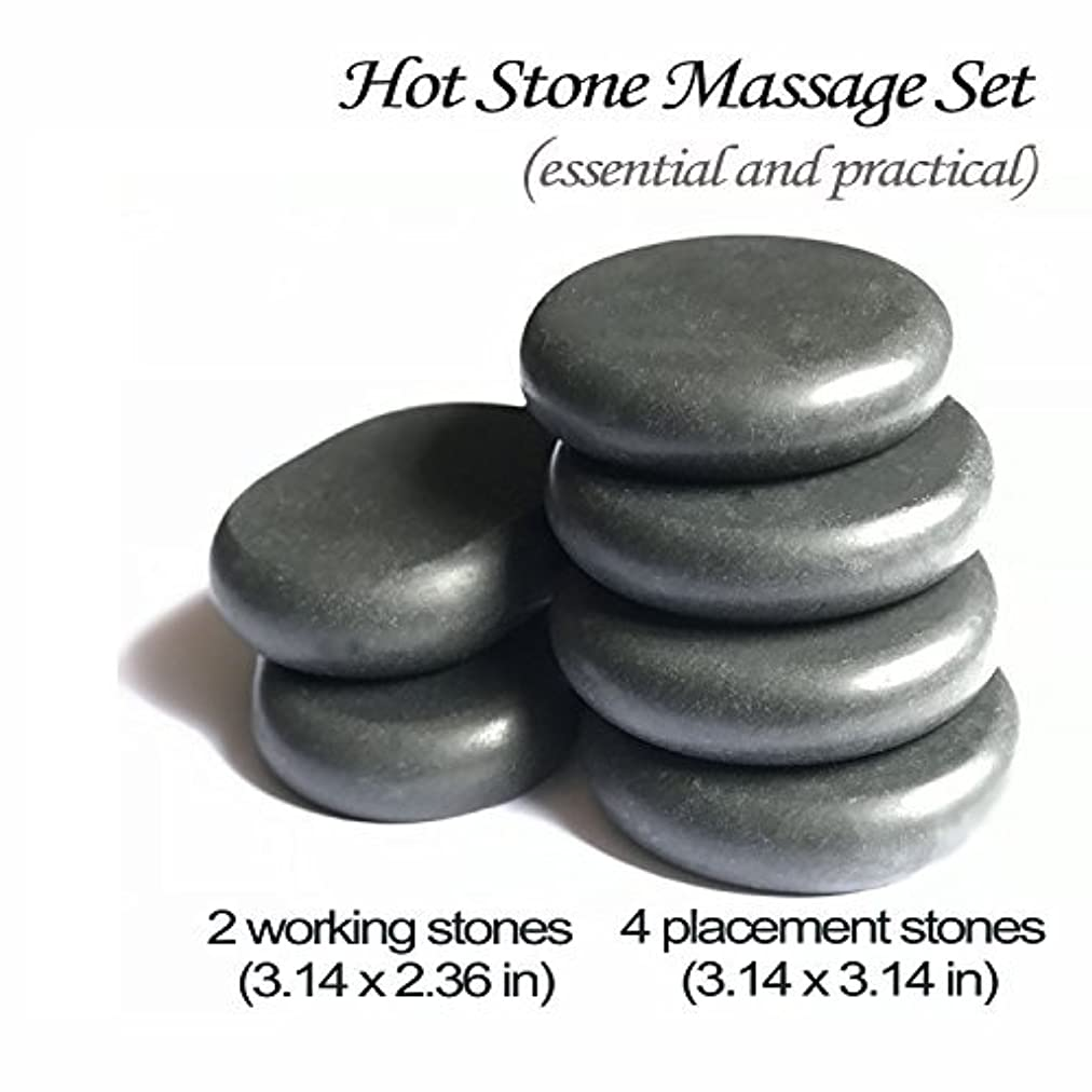 ショットクラウン高原ロック玄武岩マッサージホットスト足つぼ?手のひら かっさ Natural Lava Rock Basalt Stone for (L 6 PCS)