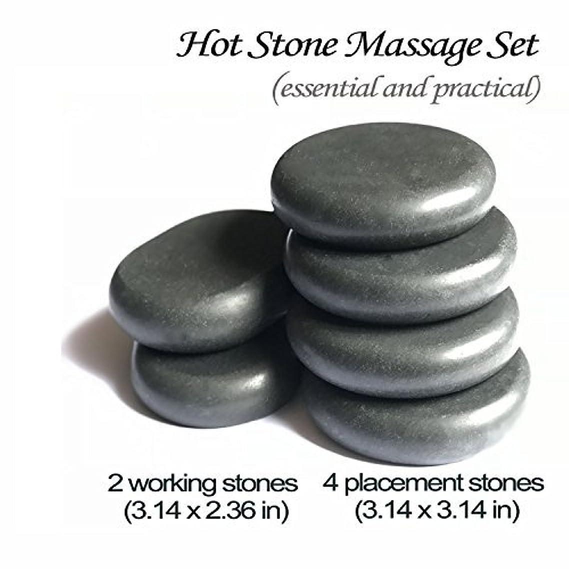 ワイン場合モスクロック玄武岩マッサージホットスト足つぼ?手のひら かっさ Natural Lava Rock Basalt Stone for (L 6 PCS)