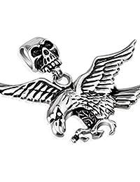 SandraクリエイティブデザインステンレススチールLarge Skull Bail with Flying Eagle BikerペンダントW /ネックレス