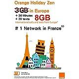 Orange Holiday ヨーロッパ - プリペイドSIMカード ー 4G通信 8GB 30分 SMS 200通 (8GB)