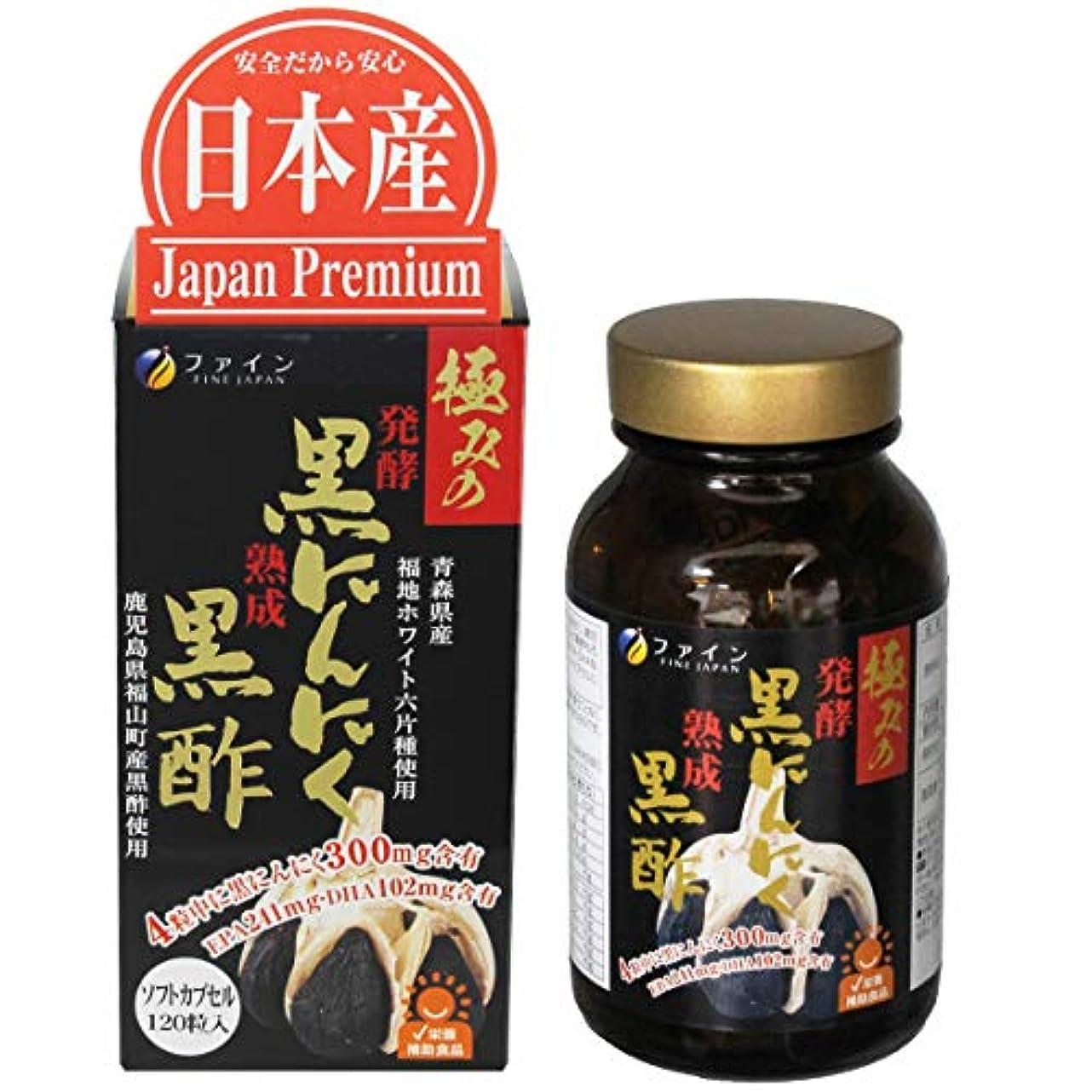 リマ岸バンジョーファイン 極みの発酵黒にんにく黒酢 30日分 120粒入 黒酢もろみ末 EPA DHA 配合
