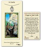 ピューター聖セシリアMedal onの縁石チェーン18インチLite with a prayer to St Cecilia Prayerカード。