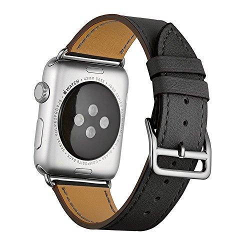 Sundaree® for Apple Watch バンド 42mm&44mm、本革ビジネススタイル、ファッションなデザインと精密な手作り、アップル ウォッチバンド for Apple Watch Series 4/3/2/1 (シングルリング黒42&44mm)