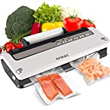 Vacuum Sealer Machine, Automatic Food Sealer with Cutter, Automatic Air Sealing System for Food Savers, Dry and Moist Modes, Normal and Soft Modes, 18 Vacuum Sealer Bags, 1 Roll & 1 Vacuum Hose