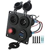 Lovoski 4機能 パネル 電圧計機能付き 2ポートUSB 車用充電器 ON-OFFトグルスイッチ