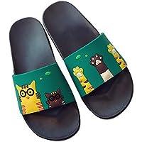 Cute Cat Print Slippers Summer Bathroom Non-Slip Soft Bottom Sandals, Pure Green