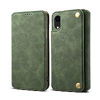 iPhone Xr シェル,[ 衝撃 吸収 ] 保護シェル PU レザー 立つ 財布 カバー 耐久性のある フリップ シェル の iPhone Xr Green