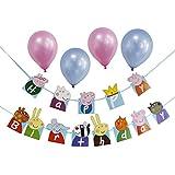 Peppa Pig誕生日パーティーデコレーションセット 子ども用誕生日パーティーバナー 風船4個 (ピンク/ブルー) 入り