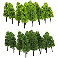 【ノーブランド品】20本 (深緑&黄緑) 1/100サイズ 鉄道模型用 パゴダツリー 樹木 おもちゃ 飾り 贈り物