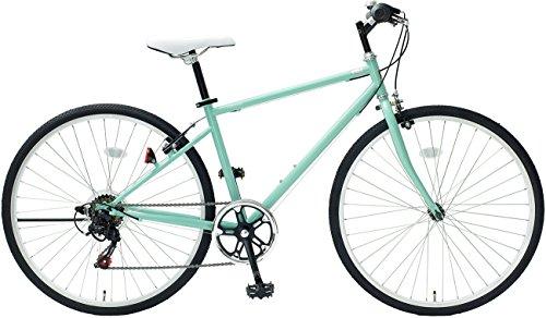 クロスバイク 26インチ シマノ6段変速ギア カギ・LEDライト付 TOPONE トップワン MCR266-58-GG チェレステカラー グリーン