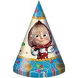 【RusToy] 6ピース帽子カップ子供の休日パーティーホイッスルマシャとベアテーブルパーティートリートグッズは誕生日を好む 6 piece hat cup Children's Holiday Party Whistle Masha and the Bear