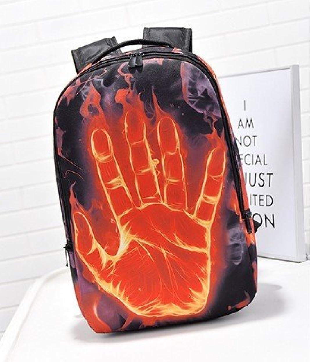 幸運破壊後方Amoji目を引くクールファッションスクールバッグwith Big Hand Printing for旅行アウトドアハイストリートバックパック