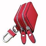 レモンツリーART 赤いダブルファスナーキーケース ダブルポケット 車スマートキーケース 本革レザー 車種汎用 母の日 父の日のプレゼントとして最適です。黒/赤/青/桜ピンク/白があります (赤)