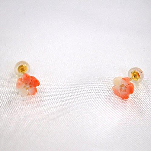 桃色珊瑚 桜 ピアス K18