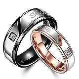 Rockyu ジュエリー ブランド メンズ レディース チタン リング 婚約 結婚 結婚指輪 ジルコニア 18k ピンクゴールド 指輪