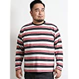グランバック(GRAND-BACK) 変形梨地ボーダークルーネック長袖Tシャツ