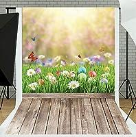 TMOTN 5x7フィート ビニール イースター 写真 背景 子供用 自然 床 カスタマイズ 写真 背景 スタジオ小道具 D922