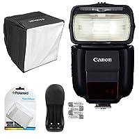 Canonスピードライト430ex iii-rtフラッシュ、Polaroidフラッシュディフューザー、Polaroid Mini Studioソフトボックスフラッシュディフューザーと電源バッテリー充電器