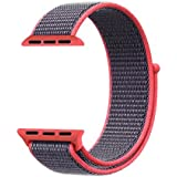 New Nylon Sport Loop with Hook and Loop Fastener Adjustable Closure Wrist Strap Replacment Band 42mm for iwatch Apple Watch Series 1 /2 / 3 By Pandaoo, 42mm Only.