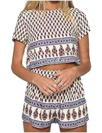 VITryst 女性の単純な花セット半袖シャツ2枚のミニパンツ