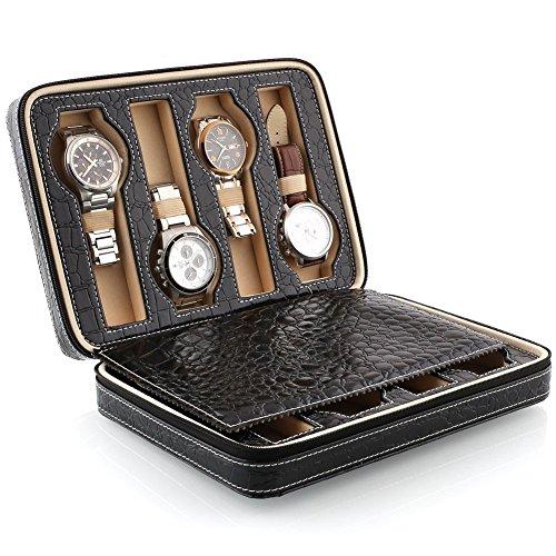 (アマズディール)Amzdeal 腕時計収納ケース レザー ウォッチ ケース 旅行 出張 トラベル ジッパー式 8本用 ブラック