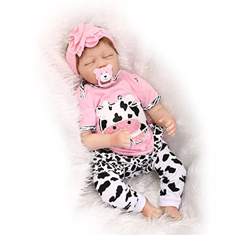annedoll Sleepingベビー人形22インチLifelikeソフトSiliconeビニールRebornベビー人形withマグネット口目閉じGirl Bedtimeおもちゃ誕生日ギフト