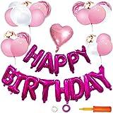 LCLOVER 誕生日 飾り付け バルーン 風船 バースデー パーティー セット ピンク 特大 HAPPY BIRTHDAY ポンプ 付き