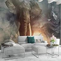Bzbhart 象の鳥の背景の壁画カスタム大壁画壁紙-120cmx100cm