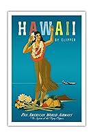 ハワイ州クリッパー - ハワイアンフラガール - パンアメリカン航空 - ビンテージなハワイの旅行のポスター によって作成された ジョン・アサートン c.1950s - アートポスター - 76cm x 112cm