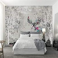 Bzbhart テレビの背景装飾画、壁用ステッカー3D写真現代のカスタム壁紙レトロヘラジカの森抽象模様水彩画の森テレビの背景壁用装飾的な家の装飾-200cmx140cm