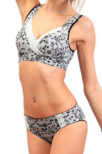 甜蜜妈咪日本制造]蕾丝印花哺乳文胸,并设置选择有机棉弹力花边成人可爱的诞生准备住院护理产妇的衣服裤裆部分的短裤