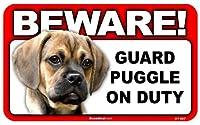 BEWARE!PUGGLE ラミネートサイン:パーグル 注意 警戒中 Made in U.S.A [並行輸入品]