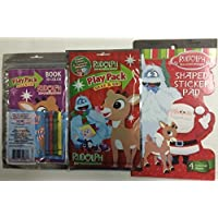 2 Piece Rudolph the赤Nosed Reindeer ShapedステッカーパッドとA Grab & Go Playパック