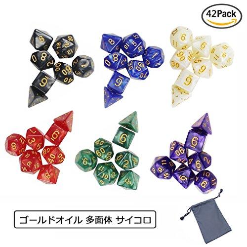 ダイス,MAVEEK(マビーカ)ゴールドオイル 多面体 サイコロ ダイスセット ボードゲーム カード ゲーム 用 6色 42個 セット 収納袋付き