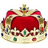 キングゴールド クラウンコスチューム - 王国のパーティーテーマやデコレーションに最適 王子のような感触 ジュエリーゴールド、レッド、ブルー ワンサイズコスチュームアクセサリー
