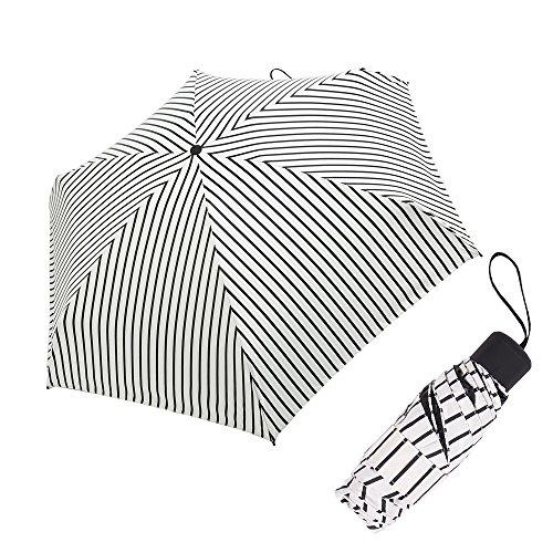 V-Dank 日傘 折りたたみ傘 ストライプ柄 軽量 小型 ...