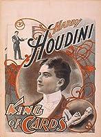 ハリー・フーディーニKingのカードヴィンテージMagician Reproduction Rolledキャンバス印刷24x 31in。