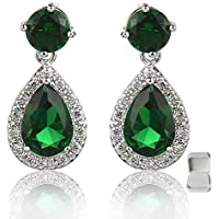 Meyome Sterling Silver Simulated Emerald CZ Teardrop Drop Earrings Wedding Bridal Earrings in White Gold Plated (Green)